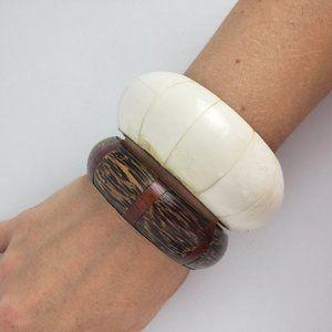 Brown & Cream Bangle Bracelet